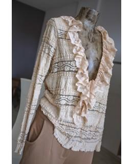 Блуза Дантела в бежаво