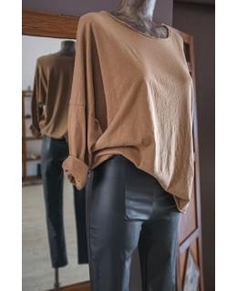 Свободна Блуза в Кафяво